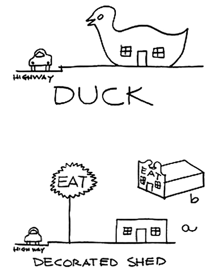 Duck vs. Decorated Shed, Venturi, Scott Brown and Izenour, 1977.