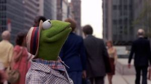 Kermit the Frog, looking up at the World Trade Center Towers in the 'Muppets Take Manhattan'