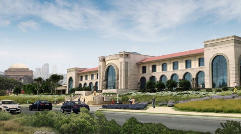 One version of the Lucas Cultural Arts Museum proposed for Chrissy Field, The Presidio of San Francisco.  I'm hoping the caryatids are all Jar Jar Binks.