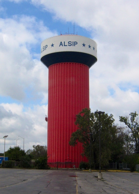 Fluted Column, Alsip, Illinois.  Built circa 1965.